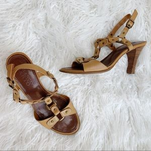 Franco Sarto Tan Strappy Leather Heels